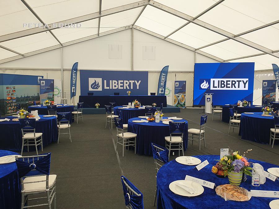Sonorizare și ecran LED pentru conferinta de presă Liberty Steel Galați.